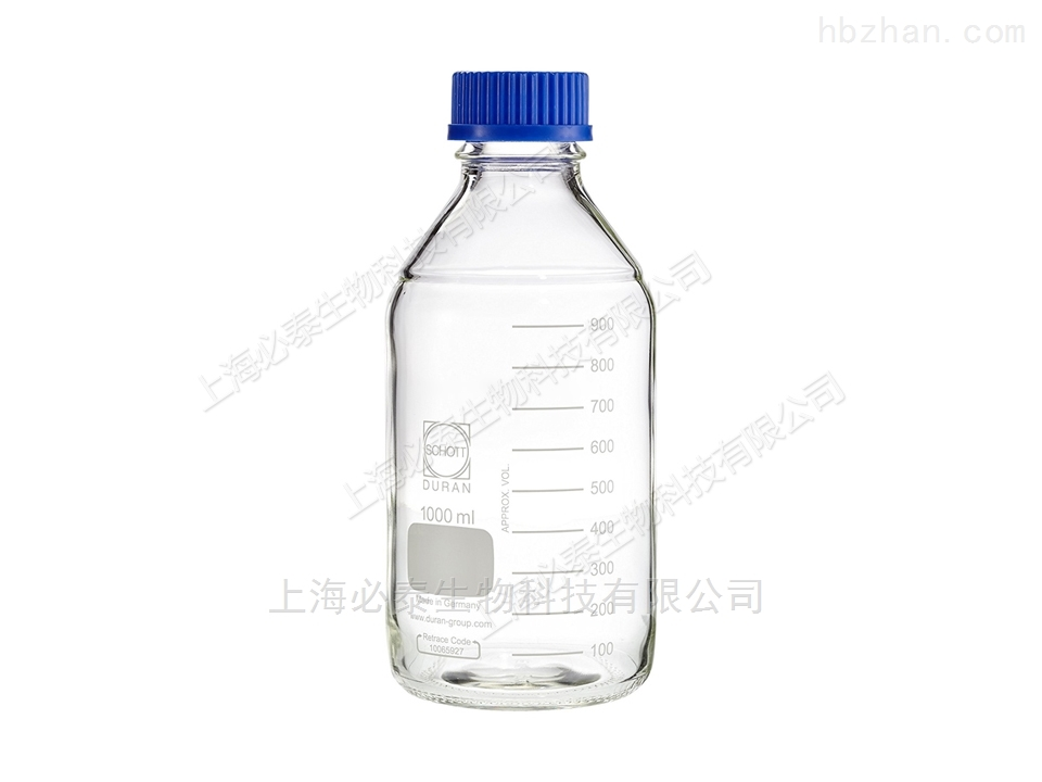 Schott Duran 2000ml透明蓝盖玻璃试剂瓶