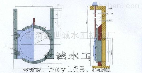 管道附壁式铸镶铜铁闸门