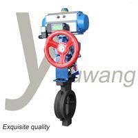 D671X-16C气动对夹碳钢蝶阀气动头手轮