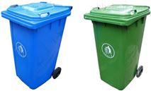 湖南长沙120L户外垃圾箱带轮带盖塑料垃圾桶